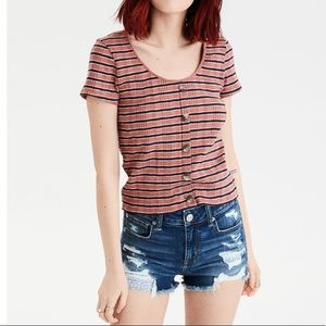 AE Stripe Ribbed Button-Down Tee in Mauve